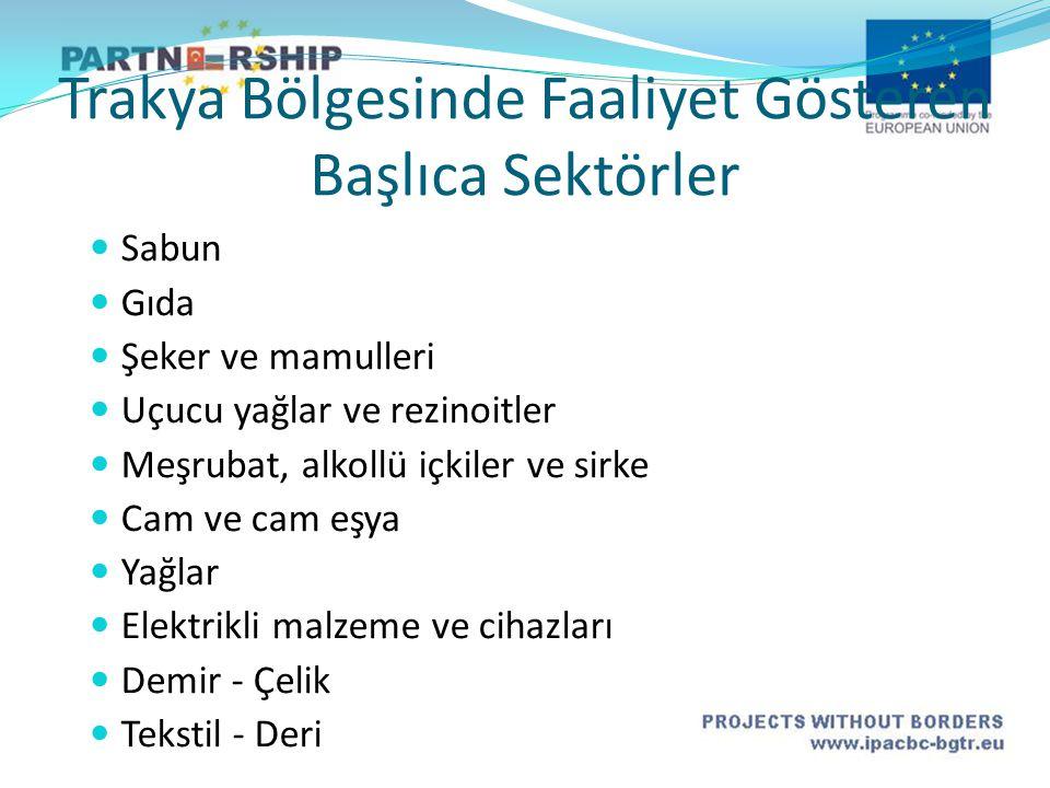 Trakya Bölgesinde Faaliyet Gösteren Başlıca Sektörler