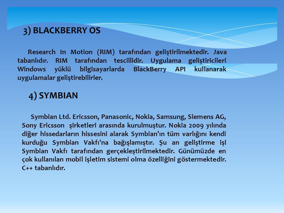 3) BLACKBERRY OS 4) SYMBIAN