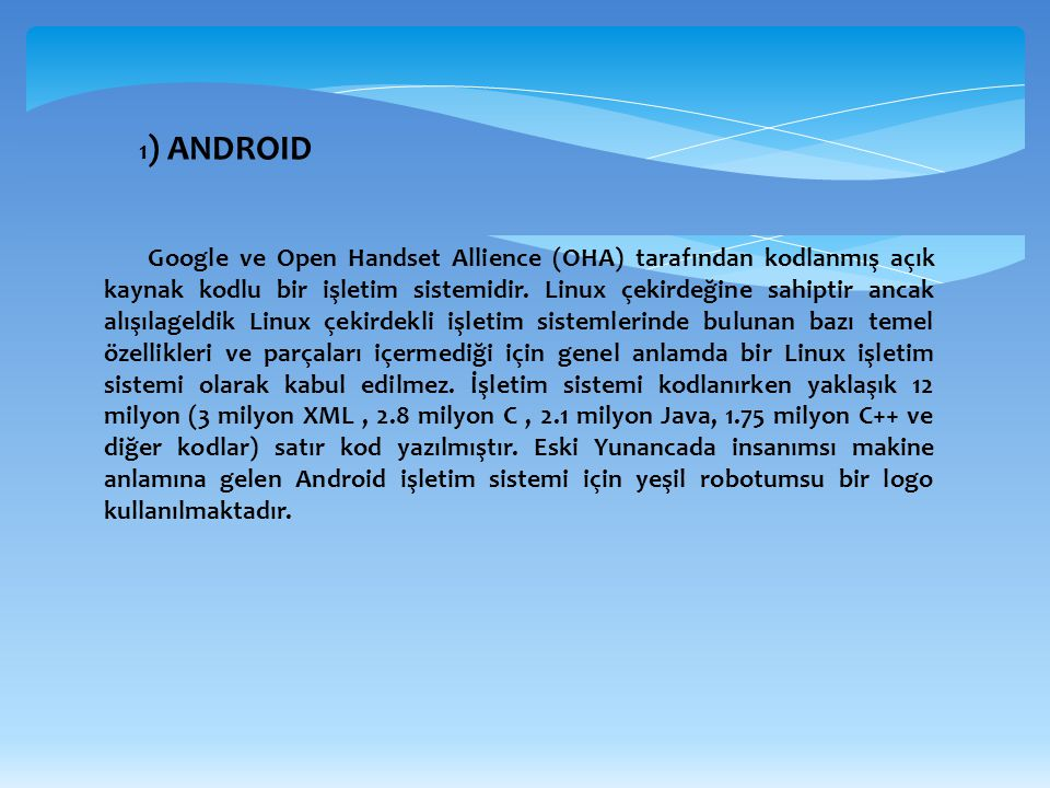 1) ANDROID