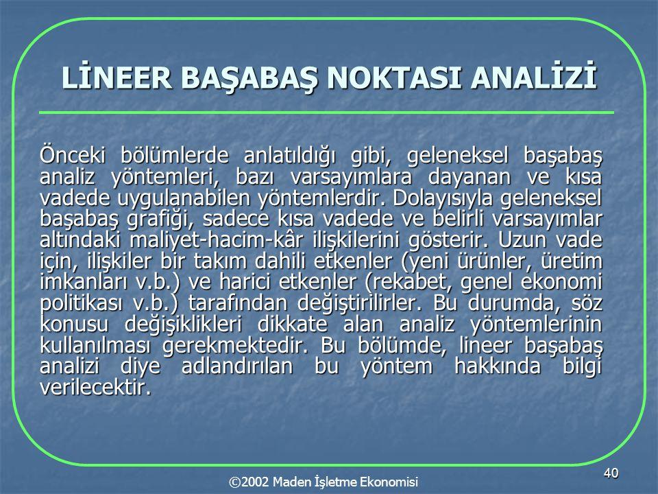 LİNEER BAŞABAŞ NOKTASI ANALİZİ