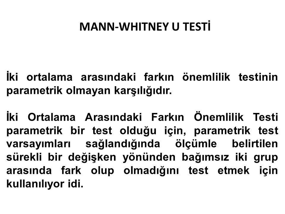 MANN-WHITNEY U TESTİ İki ortalama arasındaki farkın önemlilik testinin parametrik olmayan karşılığıdır.