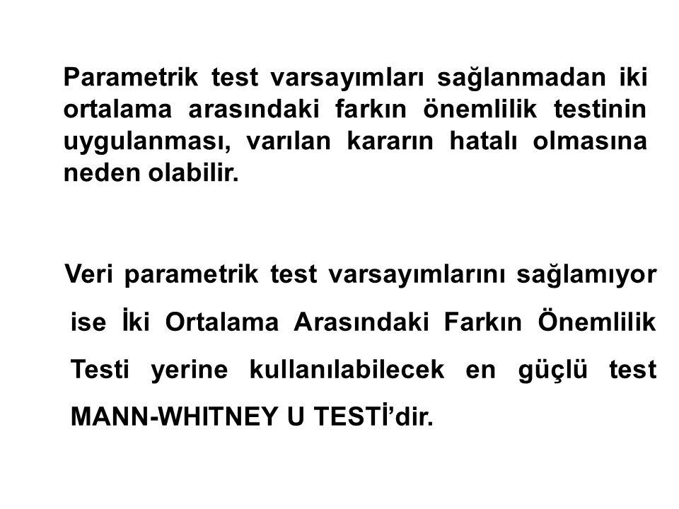 Parametrik test varsayımları sağlanmadan iki ortalama arasındaki farkın önemlilik testinin uygulanması, varılan kararın hatalı olmasına neden olabilir.