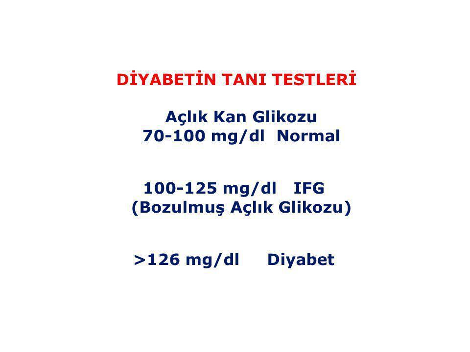 DİYABETİN TANI TESTLERİ Açlık Kan Glikozu 70-100 mg/dl Normal