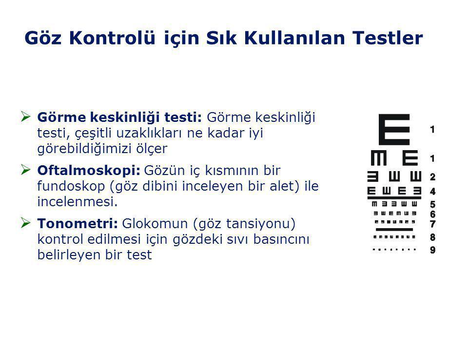 Göz Kontrolü için Sık Kullanılan Testler