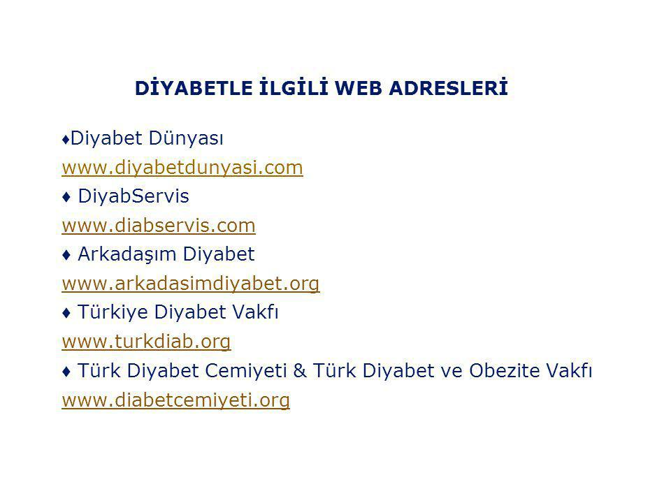 DİYABETLE İLGİLİ WEB ADRESLERİ