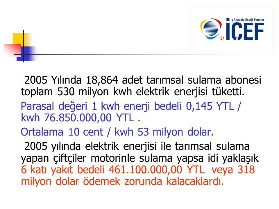 2005 Yılında 18,864 adet tarımsal sulama abonesi toplam 530 milyon kwh elektrik enerjisi tüketti.