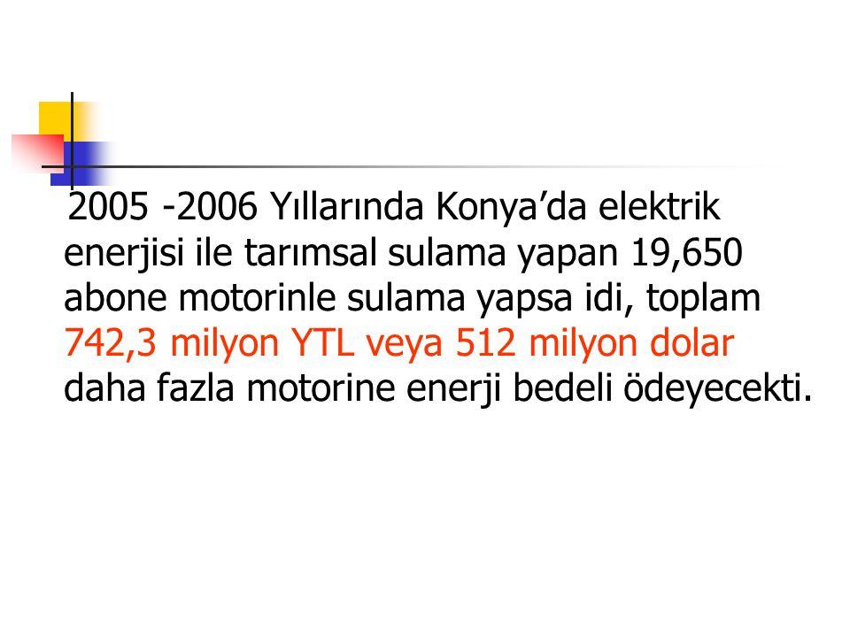 2005 -2006 Yıllarında Konya'da elektrik enerjisi ile tarımsal sulama yapan 19,650 abone motorinle sulama yapsa idi, toplam 742,3 milyon YTL veya 512 milyon dolar daha fazla motorine enerji bedeli ödeyecekti.