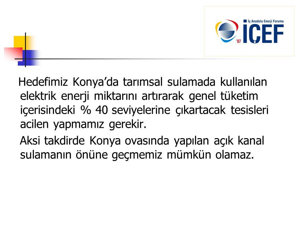 Hedefimiz Konya'da tarımsal sulamada kullanılan elektrik enerji miktarını artırarak genel tüketim içerisindeki % 40 seviyelerine çıkartacak tesisleri acilen yapmamız gerekir.