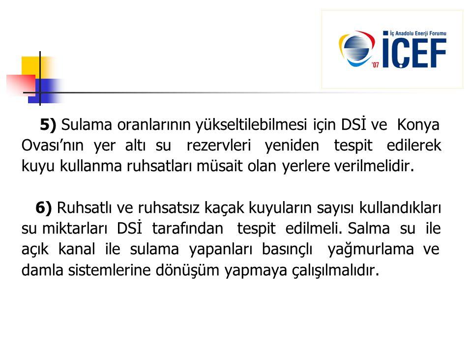 5) Sulama oranlarının yükseltilebilmesi için DSİ ve Konya