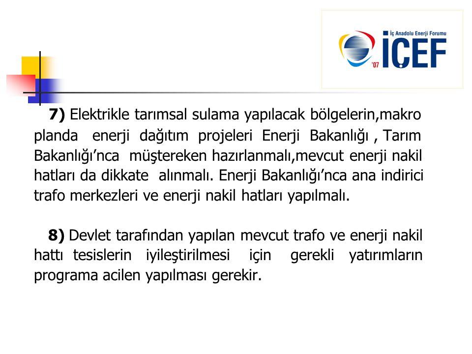 7) Elektrikle tarımsal sulama yapılacak bölgelerin,makro
