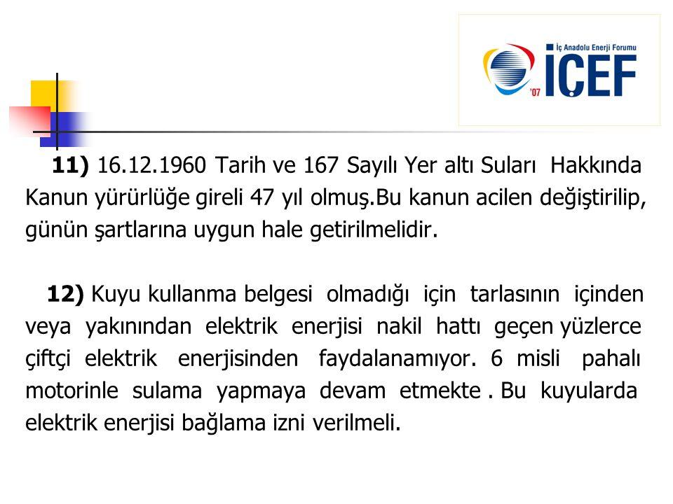 11) 16.12.1960 Tarih ve 167 Sayılı Yer altı Suları Hakkında