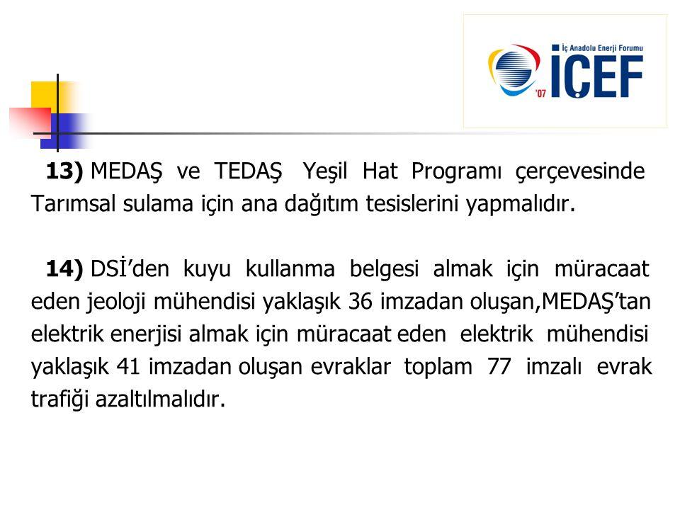13) MEDAŞ ve TEDAŞ Yeşil Hat Programı çerçevesinde