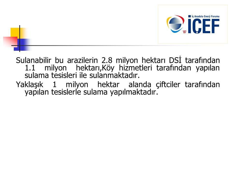 Sulanabilir bu arazilerin 2. 8 milyon hektarı DSİ tarafından 1