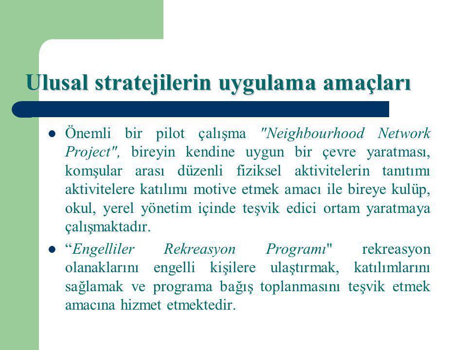 Ulusal stratejilerin uygulama amaçları