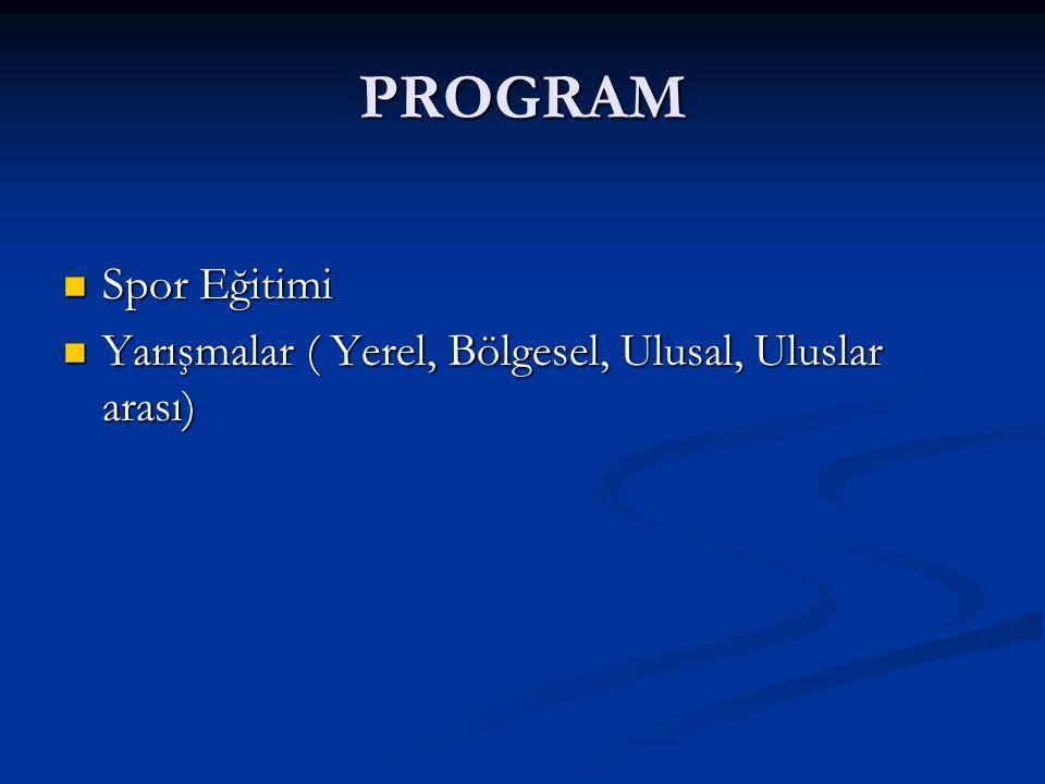 PROGRAM Spor Eğitimi Yarışmalar ( Yerel, Bölgesel, Ulusal, Uluslar arası)