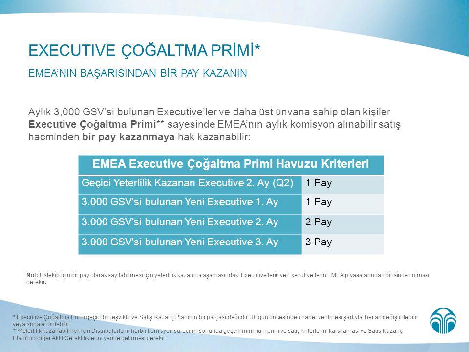 EMEA Executive Çoğaltma Primi Havuzu Kriterleri