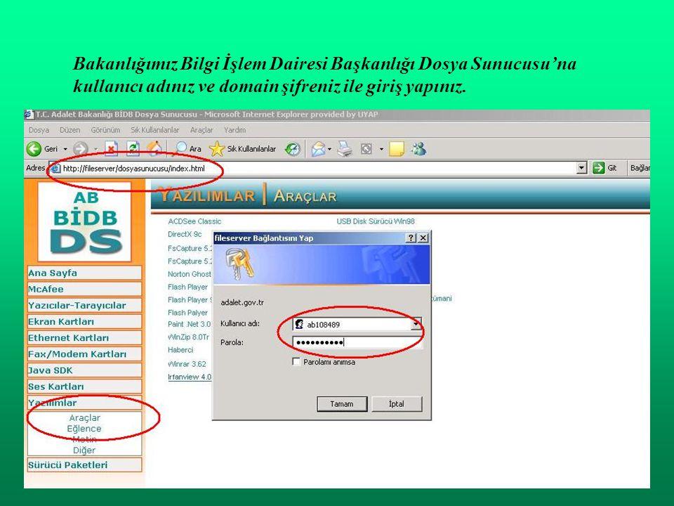 Bakanlığımız Bilgi İşlem Dairesi Başkanlığı Dosya Sunucusu'na kullanıcı adınız ve domain şifreniz ile giriş yapınız.