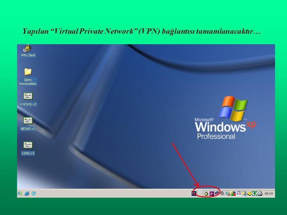 Yapılan Virtual Private Network (VPN) bağlantısı tamamlanacaktır…