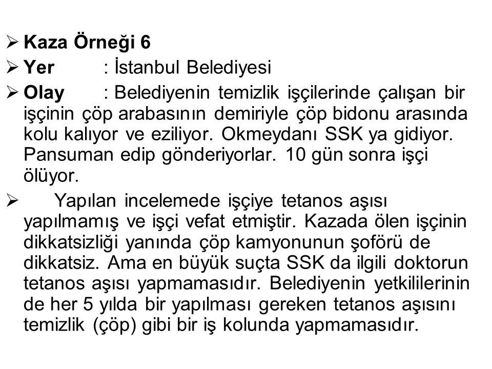 Kaza Örneği 6 Yer : İstanbul Belediyesi.