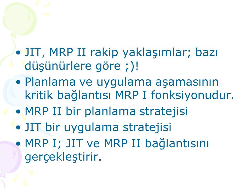 JIT, MRP II rakip yaklaşımlar; bazı düşünürlere göre ;)!