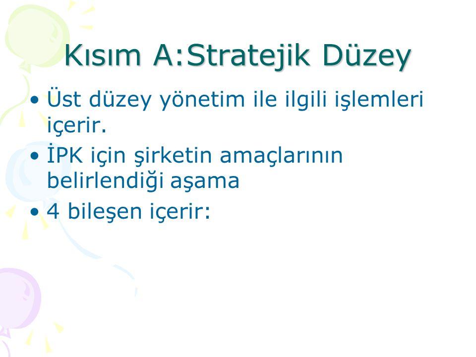 Kısım A:Stratejik Düzey