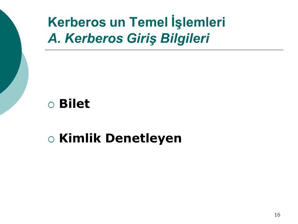 Kerberos un Temel İşlemleri A. Kerberos Giriş Bilgileri