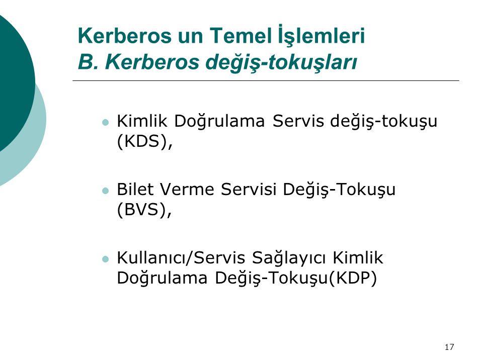 Kerberos un Temel İşlemleri B. Kerberos değiş-tokuşları