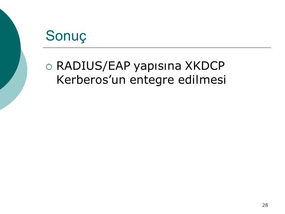 Sonuç RADIUS/EAP yapısına XKDCP Kerberos'un entegre edilmesi