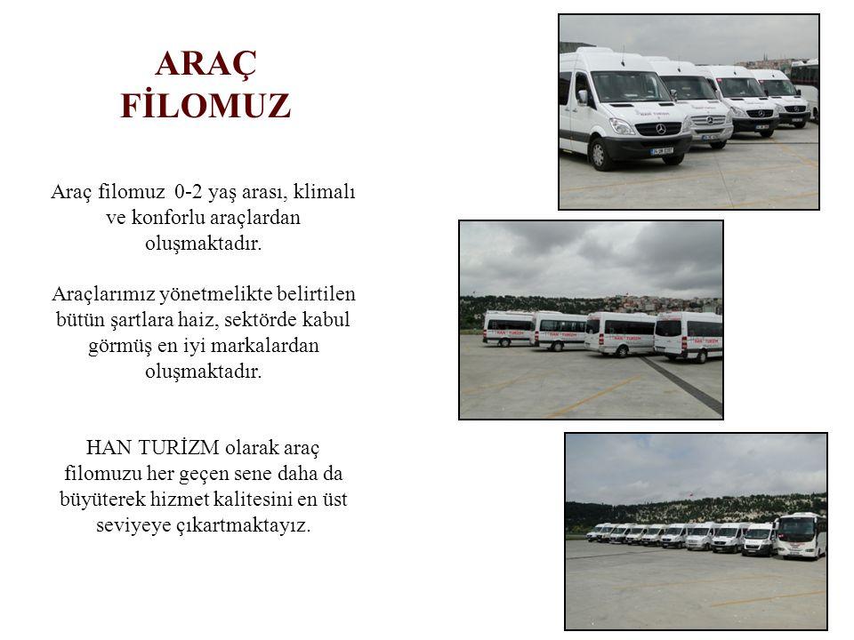 ARAÇ FİLOMUZ. Araç filomuz 0-2 yaş arası, klimalı ve konforlu araçlardan oluşmaktadır.