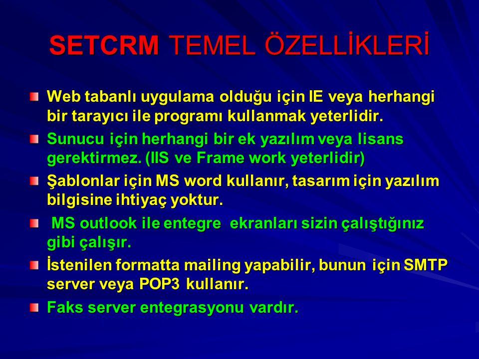 SETCRM TEMEL ÖZELLİKLERİ