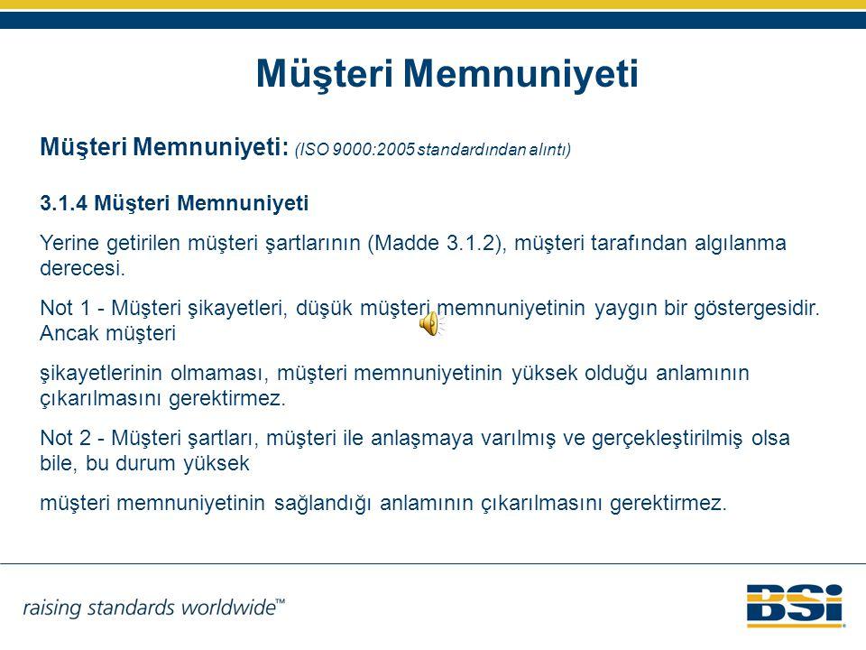 Müşteri Memnuniyeti Müşteri Memnuniyeti: (ISO 9000:2005 standardından alıntı) 3.1.4 Müşteri Memnuniyeti.