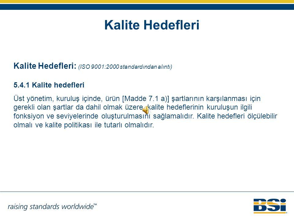 Kalite Hedefleri Kalite Hedefleri: (ISO 9001:2000 standardından alıntı) 5.4.1 Kalite hedefleri.