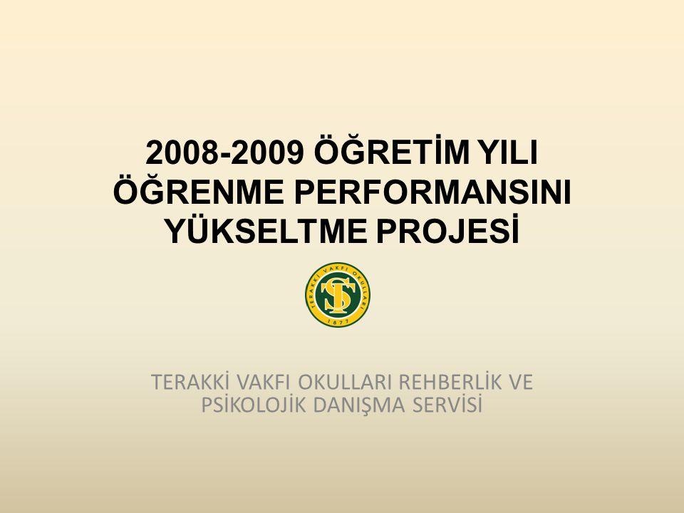 2008-2009 ÖĞRETİM YILI ÖĞRENME PERFORMANSINI YÜKSELTME PROJESİ