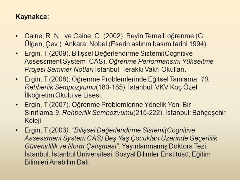 Kaynakça: Caine, R. N., ve Caine, G. (2002). Beyin Temelli öğrenme (G. Ülgen, Çev.). Ankara: Nobel (Eserin aslının basım tarihi 1994)