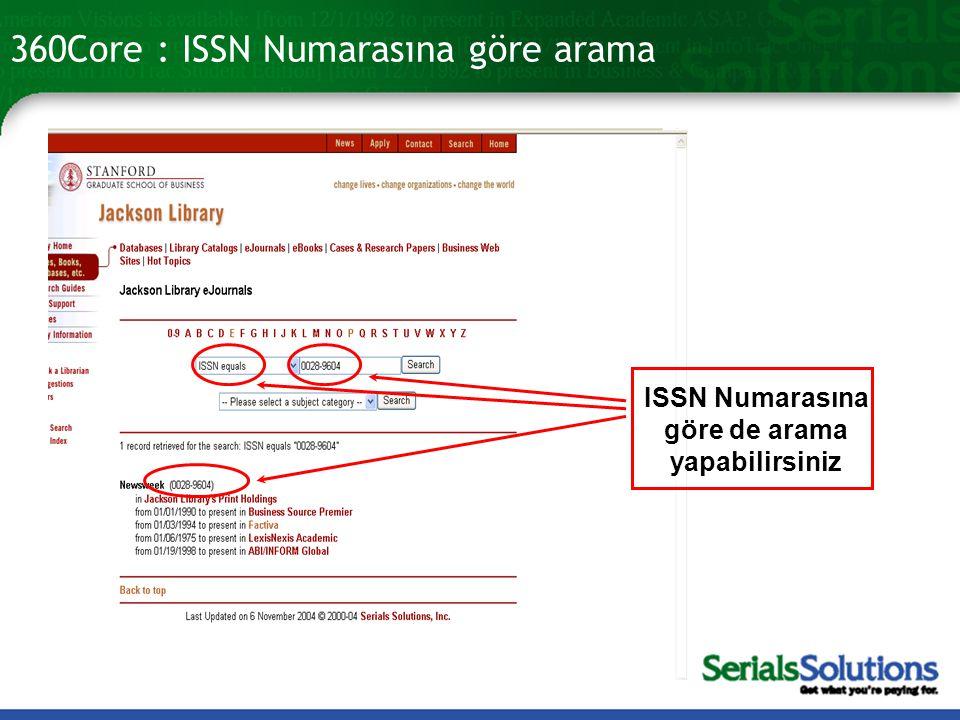 360Core : ISSN Numarasına göre arama