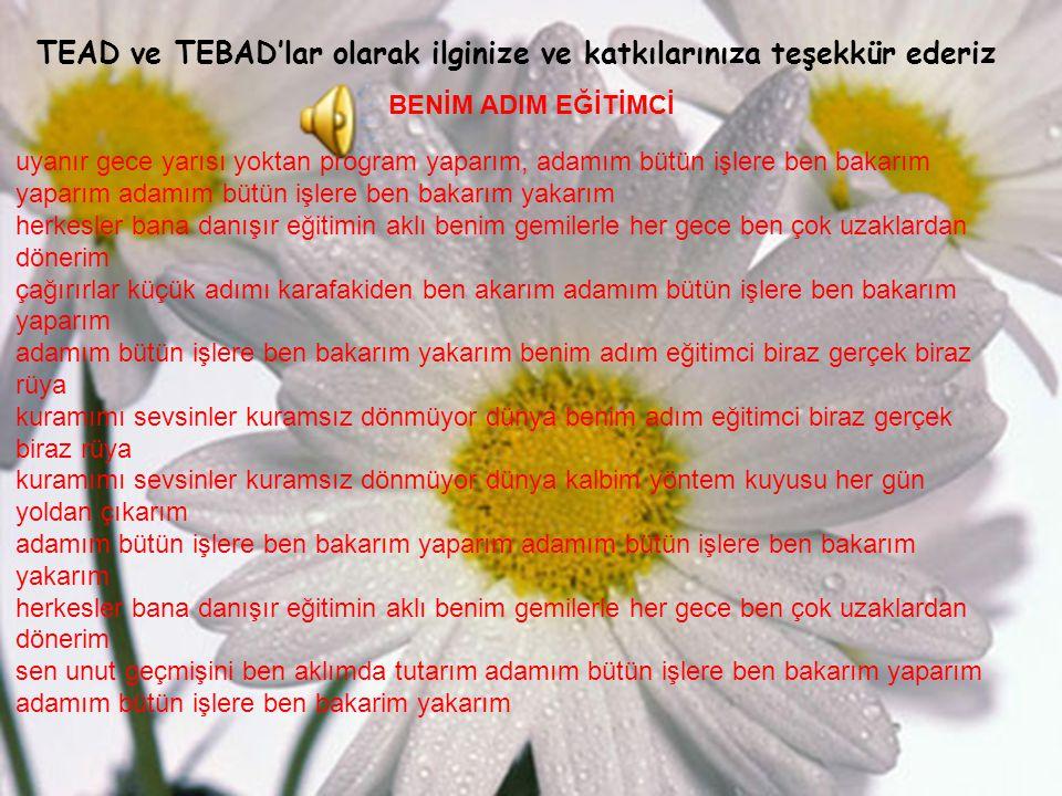 TEAD ve TEBAD'lar olarak ilginize ve katkılarınıza teşekkür ederiz
