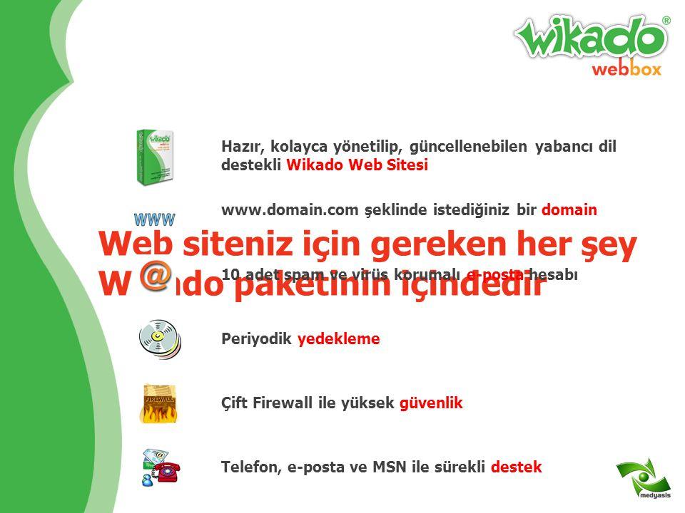 Web siteniz için gereken her şey Wikado paketinin içindedir