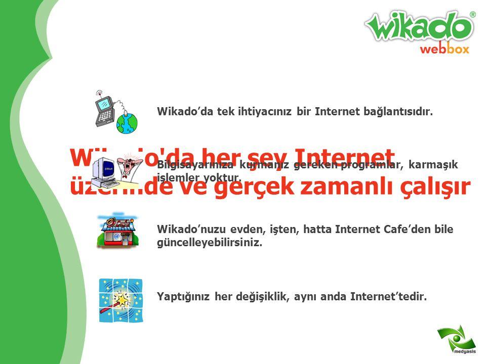Wikado da her şey Internet üzerinde ve gerçek zamanlı çalışır