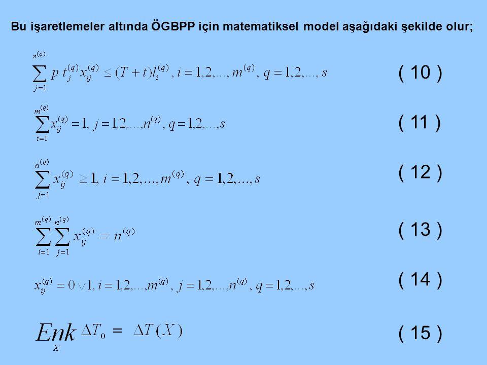 Bu işaretlemeler altında ÖGBPP için matematiksel model aşağıdaki şekilde olur;