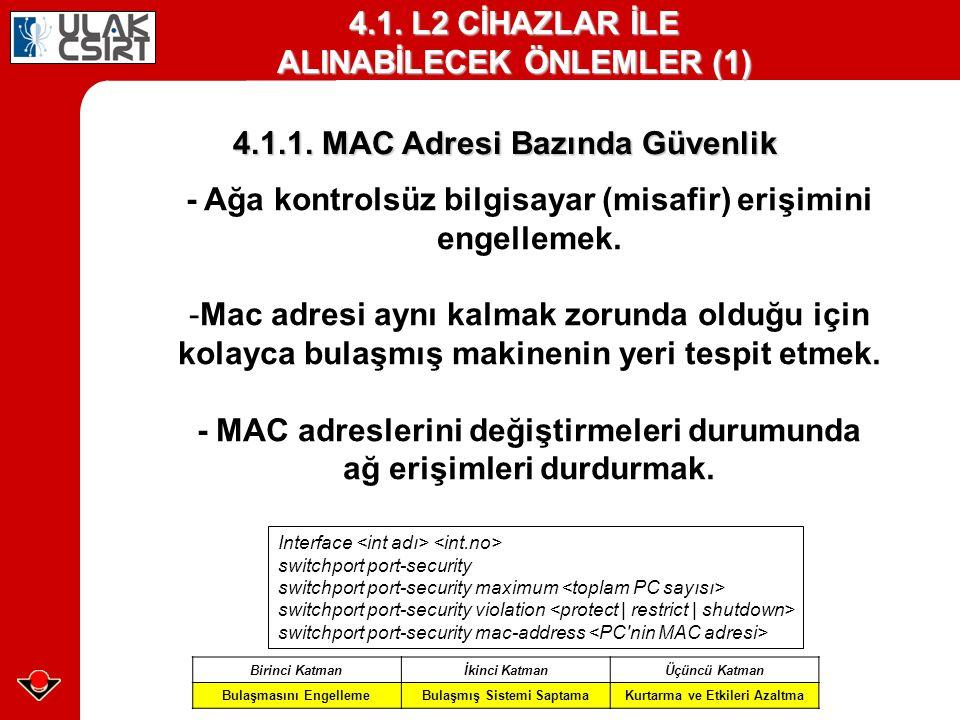 4.1. L2 CİHAZLAR İLE ALINABİLECEK ÖNLEMLER (1)