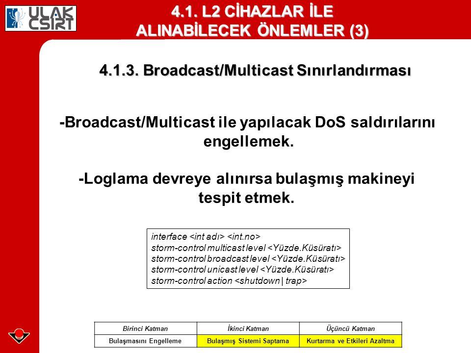 4.1. L2 CİHAZLAR İLE ALINABİLECEK ÖNLEMLER (3)