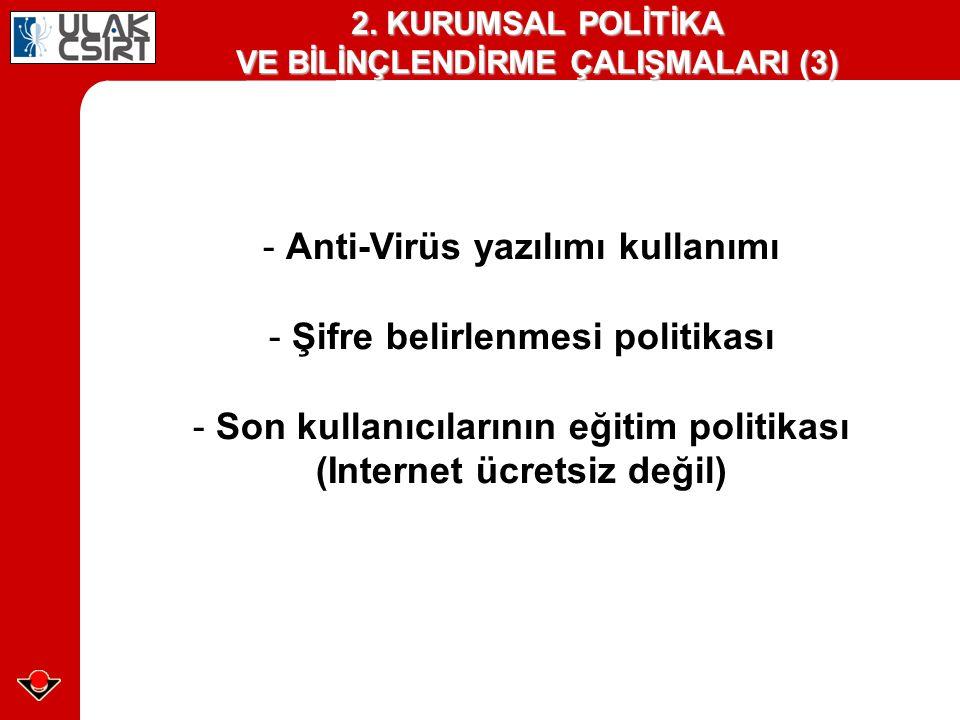 - Anti-Virüs yazılımı kullanımı Şifre belirlenmesi politikası