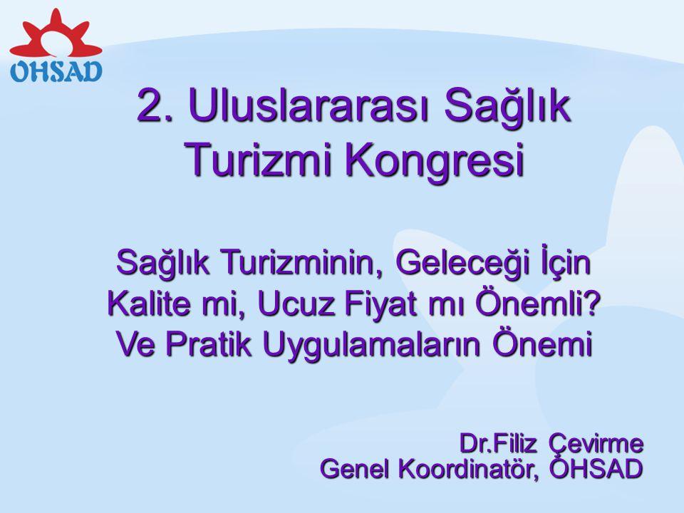 2. Uluslararası Sağlık Turizmi Kongresi Sağlık Turizminin, Geleceği İçin Kalite mi, Ucuz Fiyat mı Önemli Ve Pratik Uygulamaların Önemi