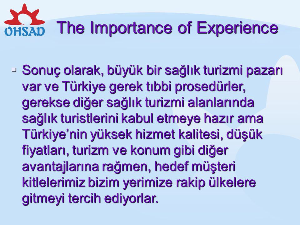 The Importance of Experience