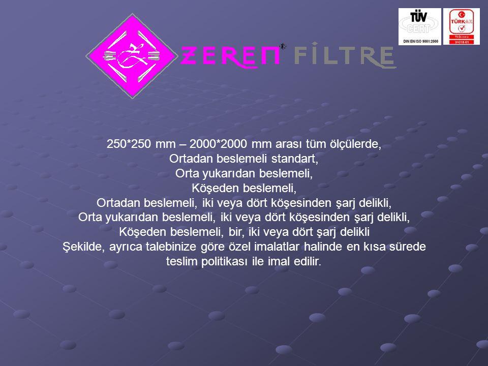 250*250 mm – 2000*2000 mm arası tüm ölçülerde,