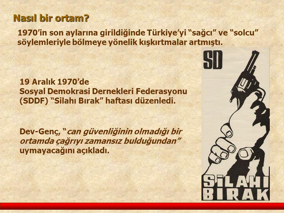 Nasıl bir ortam 1970'in son aylarına girildiğinde Türkiye'yi sağcı ve solcu söylemleriyle bölmeye yönelik kışkırtmalar artmıştı.
