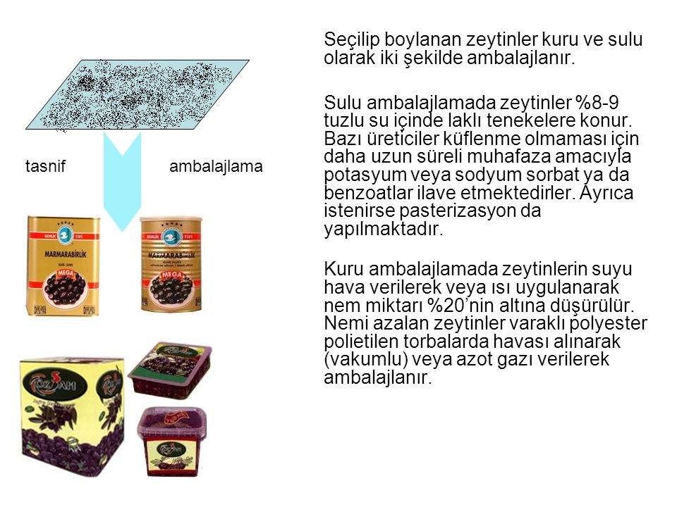 Seçilip boylanan zeytinler kuru ve sulu olarak iki şekilde ambalajlanır.