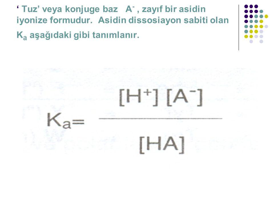 ' Tuz' veya konjuge baz A- , zayıf bir asidin iyonize formudur