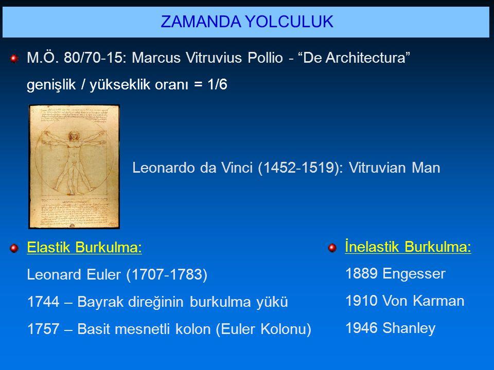 ZAMANDA YOLCULUK M.Ö. 80/70-15: Marcus Vitruvius Pollio - De Architectura genişlik / yükseklik oranı = 1/6.