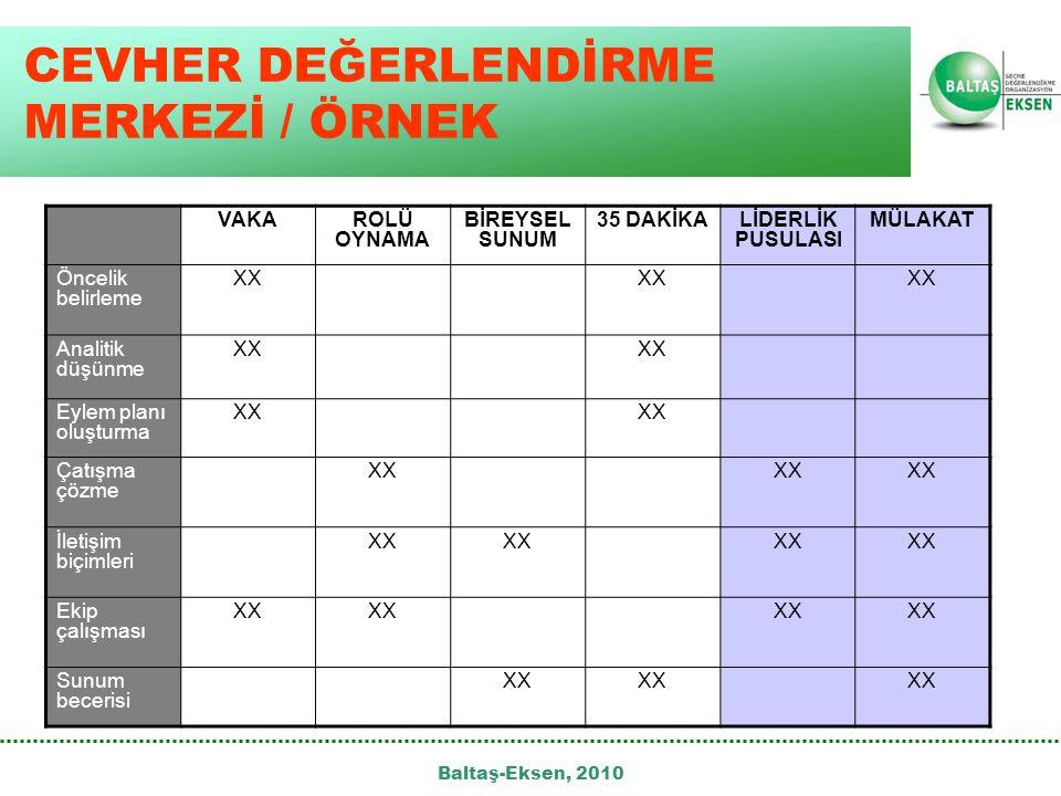 CEVHER DEĞERLENDİRME MERKEZİ / ÖRNEK